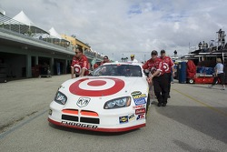 Target Dodge crew members push the #41 car