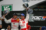Race of Champions winner Sébastien Loeb celebrates with runner-up Tom Kristensen