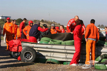 Scene after Luca Badoer's crash