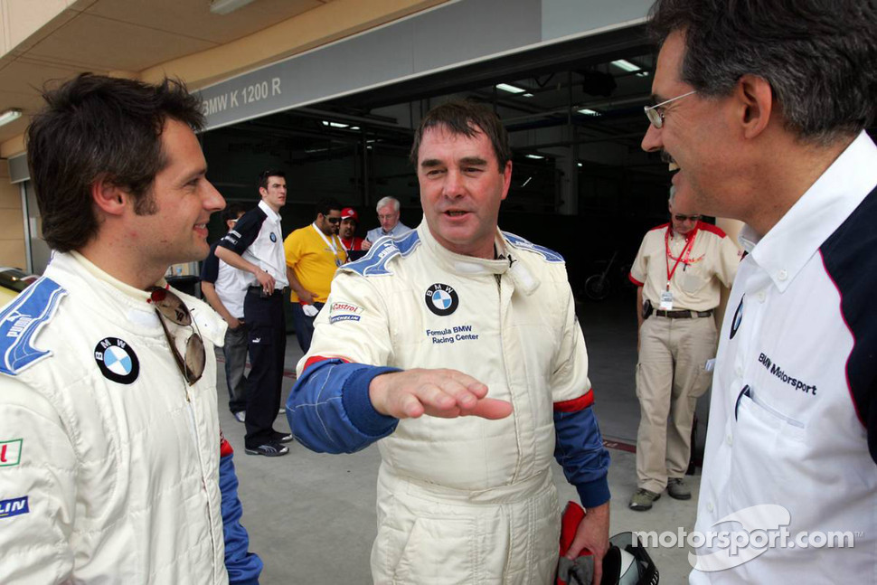 BMW race car training: Nigel Mansell, Andy Priaulx and Dr Mario Theissen