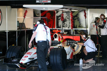 Christmas decoration in the Honda garage