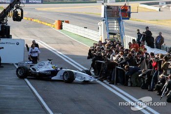 Nick Heidfeld leaves the garage