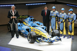 Giancarlo Fisichella, Patrick Faure, Fernando Alonso, Heikki Kovalainen and Flavio Briatore