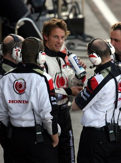 Jenson Button back in the pits