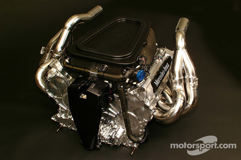 The new Mercedes-Benz Formula One engine FO 108S; V8 cylinders, 2.4 litre capacity, more than ...