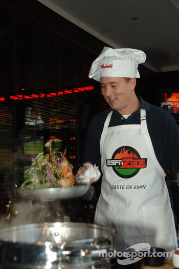 Brent Sherman participates in the first annual Raybestos Rookie cooking Challenge