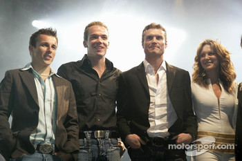 Robert Doornbos, David Coulthard and Christian Klien on stage