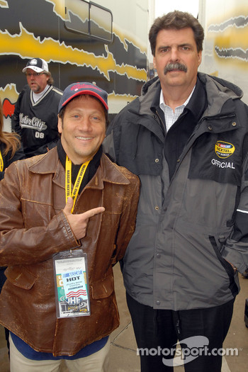 Actor Rob Schneider poses with NASCAR president Mike Helton