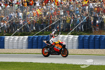 Dani Pedrosa celebrates second place finish