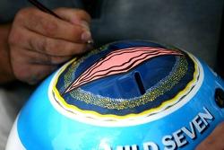 A helmet is painted