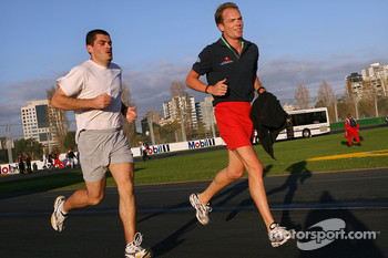 Robert Doornbos runs around the track