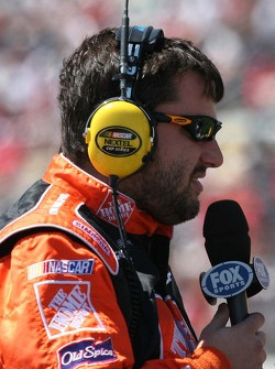 Tony Stewart conducts a television interview