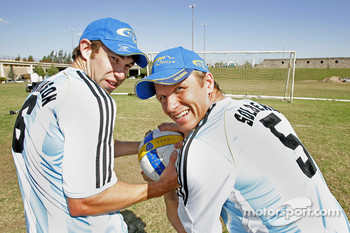 Petter Solberg and Chris Atkinson in their Argentinean football kit