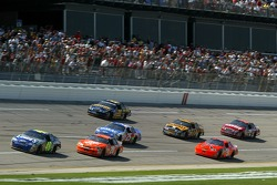 Jimmie Johnson leads the pack on the final lap