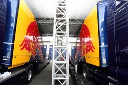 Red Bull Racing trucks under the tree house