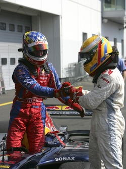 Lewis Hamilton 1st and Nicolas Lapierre 2nd congratulate each other