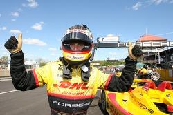 P1 provisional pole winner Timo Bernhard celebrates