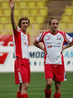 Charity football match: Andrea Casiraghi and Pierre Casiraghi, sons of Princess Caroline and nephews of Prince Albert II of Monaco