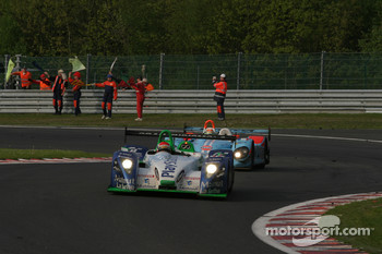 Victory Lap - #17 Pescarolo Sport Pescarolo C60 Judd: Emmanuel Collard, Jean-Christophe Boullion and #36 Paul Belmondo Racing Courage C65 - Ford: Claude-Yves Gosselin, Karim Ojjeh, Pierre Ragues
