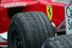 Close-up of Michael Schumacher's tire