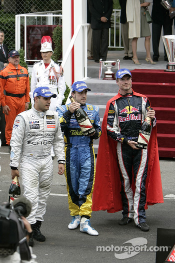 Juan Pablo Montoya, Fernando Alonso and David Coulthard