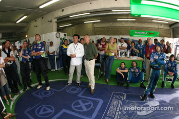 Pescarolo Sport team members watch the end of test session