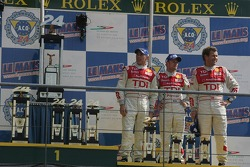 LMP1 podium: Allan McNish, Rinaldo Capello and Tom Kristensen