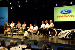 Ford Racing NASCAR NEXTEL Cup drivers and owners take part in an employee pep rally at Ford World Headquarters