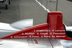 Drivers names on the Audi R8 for its last race