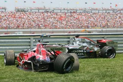 Wrecked cars of Scott Speed and Juan Pablo Montoya