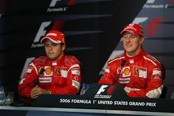 FIA  press conference: race winner Michael Schumacher with Felipe Massa
