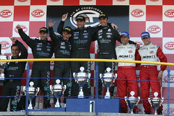 GT1 podium: class and overall winners Michael Bartels and Andrea Bertolini, with second place Jamie Davies and Thomas Biagi, and third place Jean-Denis Deletraz and Andrea Piccini