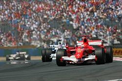 Michael Schumacher leads Jacques Villeneuve