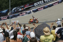 Dani Pedrosa celebrates his podium finish