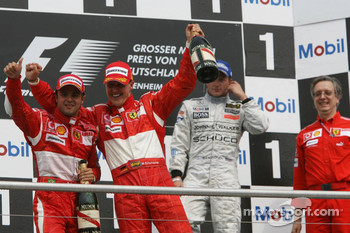 Podium: race winner Michael Schumacher with Felipe Massa and Kimi Raikkonen