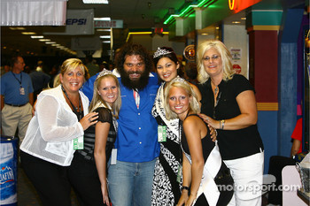 Jeff Gordon Foundation bowling tournament: Rupert Boneham from 'Survivor' and the lovely 500 Festival princesses