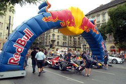 Running bulls rendez-vous in Budapest: Neel Jani and Robert Doornbos