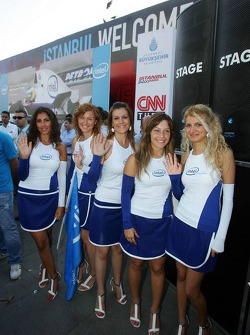 Intel event in downtown Istanbul: Intel girls wave