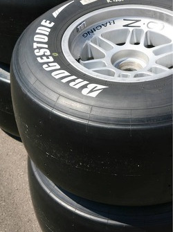 A slick Bridgestone GP2 tyre