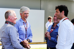 Johnny Herbert, Sky Sports F1 Presenter with Damon Hill, Sky Sports Presenter and Mark Webber, Porsche Team WEC Driver
