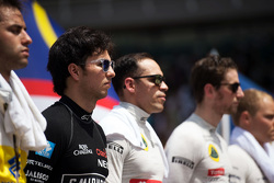 Sergio Perez, Sahara Force India F1 with the drivers as the grid observes the national anthem