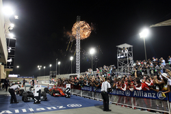 Fireworks at the podium