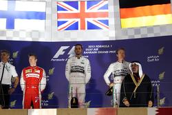 The podium Kimi Raikkonen, Ferrari, second; Lewis Hamilton, Mercedes AMG F1, race winner; Nico Rosberg, Mercedes AMG F1, third