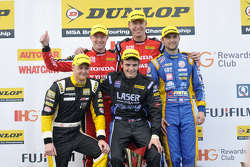 Podium: First placed Matt Neal, second placed Andrew Jordan,third placed Gordon Shedden, Independent winner Aiden Moffat and Jack Sears Trophy Winner Josh Cook