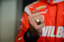Simon Pagenaud, Penske Racing Chevrolet and his 2014 Indy GP winning ring