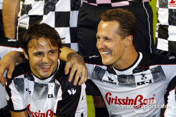 National drivers charity football match at Stadio Brianteo Stadio Brianteo: Felipe Massa and Michael Schumacher