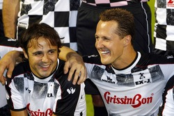 National drivers charity football match at Stadio Brianteo Stadio Brianteo: Felipe Massa and Michael Schumacher