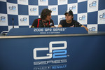 Press conference: race winner Giorgio Pantano with Nelson A. Piquet