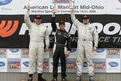 Podium: race winner Adam Pecorari with Andrew Davis and Dan McBreen