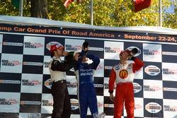 Podium: A.J. Allmendinger, Sébastien Bourdais and Bruno Junqueira